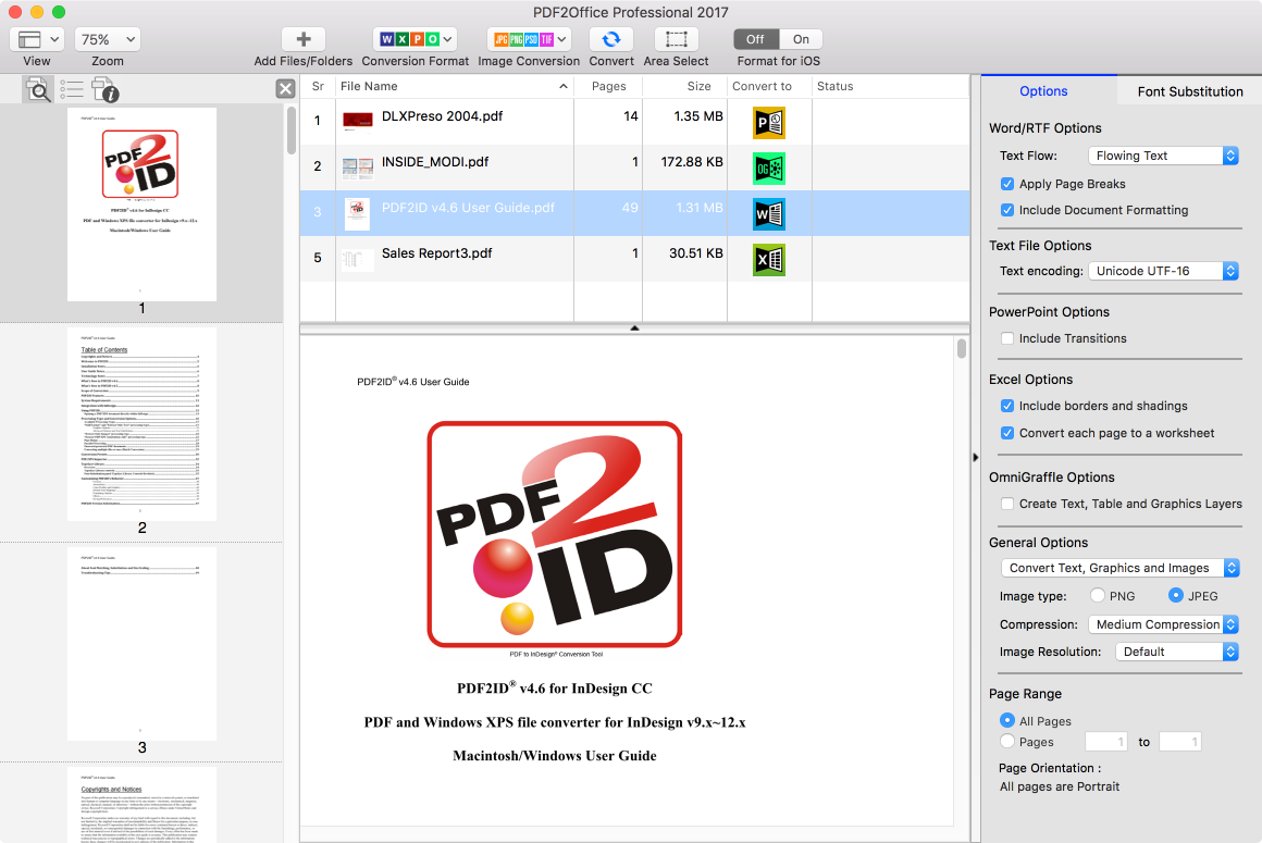 PDF2Office Professional 2017 - Convert PDF & XPS to Office & OmniGraffle Image